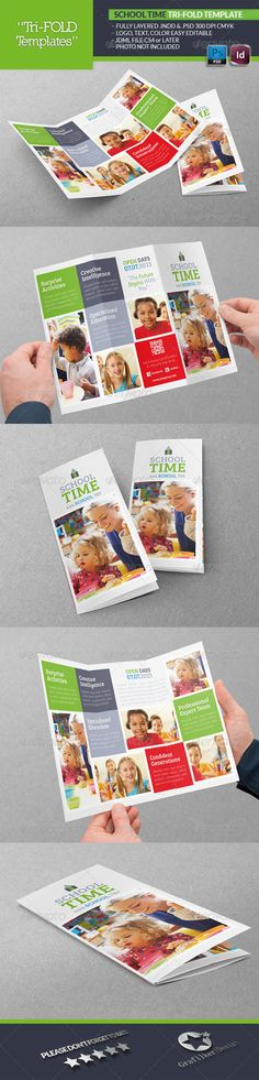 School Time Tri-Fold Template  #GraphicRiver   . Like the layout for a brochure