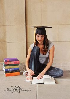 Reading herself to success! Graduate Sessions  l © Allure M Photography