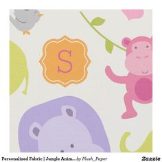 Personalized Fabric   Jungle Animals for Girls Nursery Room and Toddlers.  Choose your fabric material type and size.