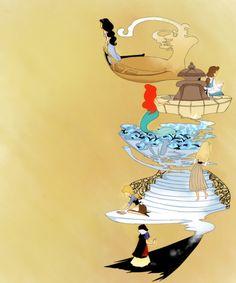 From top to bottom... Jasmine, Belle, Ariel, Aurora, Cinderella, and Snow White! I love Disney!