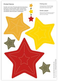 Prickel-Stars - craft sheet for tingling with Christmas stars as a . - Prickel-Stars – handicraft bow for tingling with Christmas stars can be used as a pendant, garlan - Tin Can Crafts, Diy And Crafts, Paper Crafts, Noel Christmas, Christmas Crafts, Christmas Decorations, Mobiles, Diy For Kids, Crafts For Kids