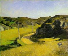Road in Maine -- Edward #Hopper -- 1914 -- 24 x 29 in -- Whitney Museum of American Art, NYC  #Realism #AmericanRealism #Painting #Landscape