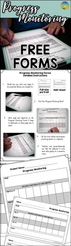 FREE Progress Monitoring Forms for special ed, intervention, support services, and more.