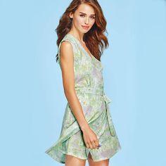 mark. Hidden Motive Romper | Matching shorts are hidden under this pretty floral wrap dress! #springfashion