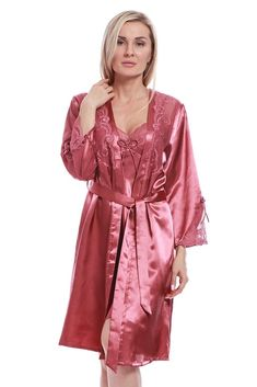 Set of Lingerie for Women Bathrobe and Nightgown Color Lilac Purple Night dress with lace inserts at the hips and bathrobe lace sleeves
