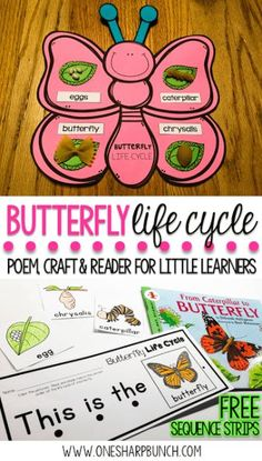 Kindergarten and primary students all about the life cycle of a butterfly with this butterfly life cycle poem, butterfly craft and FREE butterfly life cycle sequence strips! They are the perfect way to bring a little science into your spring activities! 1st Grade Science, Preschool Science, Teaching Science, Primary Science, Elementary Science, Science Lessons, Life Science, Science Fair, Science Experiments