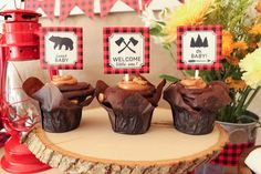 Chocolate cupcakes at a lumberjack baby shower party! See more party planning ideas at CatchMyParty.com!