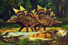 Familia de Stegosaurus #RETRO. Pintura de Sergei Kanev.  Nota: esta reconstrucción no es anatómicamente correcta.
