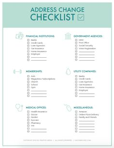 FREE Address Change Checklist - Kalyn Brooke It's shocking how many places keep your address on file! Use this change of address checklist printable to help make sure you update them ALL! New Apartment Checklist, New Home Checklist, Apartment Essentials, Apartment Hacks, Checklist For Moving, Moving Checklist Printable, Moving List, Moving House Tips, Moving Day