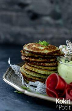 Kokit ja Potit -ruokablogi: Pinaattiblinit & avokado-tuorejuustotahna