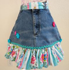 Recycled Denim Jean Apron With Ruffle by LizandLaurie on Etsy, $15.00