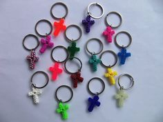 10 Cross Key Chains or Zipper Pulls - Geocaching Swag Diy Crafts And Hobbies, Diy Arts And Crafts, Crafts To Make, Fun Crafts, Crafts For Kids, Plastic Lace Crafts, Colored Bubbles, Swag Ideas, Catholic Crafts