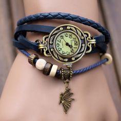 Weave Leather Bracelet Wrist Watch
