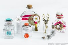 Plain-Jane bottles and jars get a fancy makeover with charms, jewels, flowers and more.