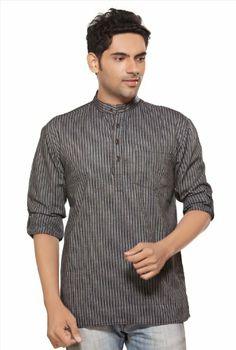563686fa Shatranj Men's Indian Short Kurta Tunic Banded Collar Printed ...