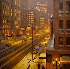 One of the most popular artists in Canada, Richard Savoie, draws pictures that are literally full of feelings of winter. Winter Landscape, Urban Landscape, Foto Gif, Most Popular Artists, Winter Scenery, City Aesthetic, Snow Scenes, Canadian Artists, Beautiful Paintings