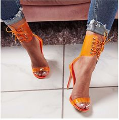 760806e603981 Sexy Gladiator Sandals Women PVC Jelly Transparent Sandals Open Toe High  Heels Party Lace-Up