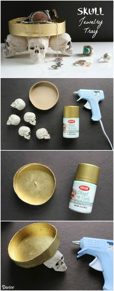 Use plastic faux skulls and a paper mache box lid to make your own DIY skull jewelry tray. This eerie piece can also be used to hold Halloween candy.