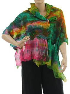 Lightweight unique shawl / scarf merino felt silk - pink green orange - Artikeldetailansicht - CLASSYDRESS Lagenlook Art to Wear Women's Clothing
