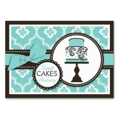Sweet Cake Business Card Turq. This great business card design is available for customization. All text style, colors, sizes can be modified to fit your needs. Just click the image to learn more!