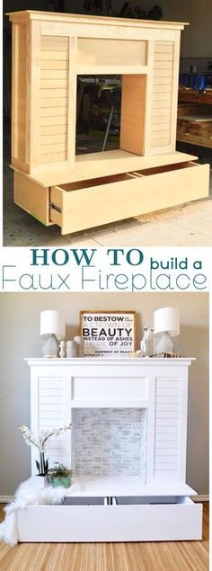 HOW TO build a Shiplap Faux Fireplace for your living room at home with Hidden Storage using Romabio Limewash and Rustoleum Chalk paint #ad #homedepot