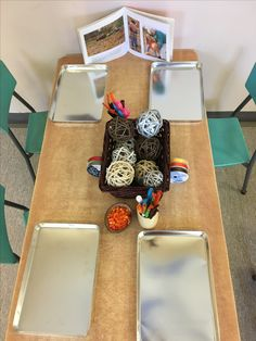 Pumpkin Provocation...grapevine balls, pipe cleaners, beads, ribbons , scissors, markers, coloured tape