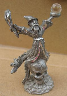 Pewter figurine by Spoontique Wizard holding crystal ball and torch? standing on a skull wrapped by a dragon tall, diamond cut Made in 1987 Excellent Condition Wizard Tattoo, Dragon 2, Crystal Skull, Vintage Kitchen, Pewter, Diamond Cuts, Lion Sculpture, Statue, Crystals
