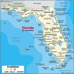 Large Print Map of Florida | world map north america usa florida maps large color map