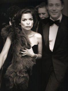 Bianca Jagger with Halston
