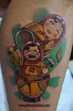 Hammer and Sickle Russian dolls by Art Core Tattoo
