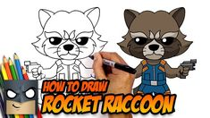 How to Draw Rocket Raccoon Kawaii Girl Drawings, Easy Cartoon Drawings, Easy Drawings, Rocket Drawing, Raccoon Drawing, Avengers Drawings, Drawing Superheroes, Cartooning 4 Kids, Cartoon Wallpaper