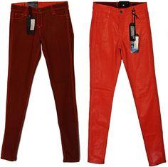 BLEULAB Women's Skinny Jeans Detour Legging Jeggings Orange Mellon Leather Coat #Bleulab #SlimSkinny
