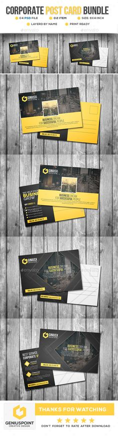 Corporate Postcard Template PSD Bundle