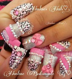 Bling nail art design on Duck feet nails | flare tip nails | fan nails wide