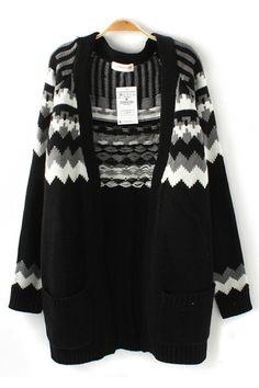 Printed Long Sleeves Loose Cardigan Sweater