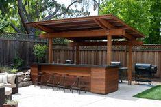 Creative Patio/Outdoor Bar Ideas You Must Try at Your Backyard - - Bar Ideen - Outdoor Kitchen Bar Patio, Backyard Bar, Backyard Kitchen, Backyard Patio Designs, Backyard Landscaping, Backyard Ideas, Kitchen Grill, Outdoor Patio Bar, Sloped Backyard