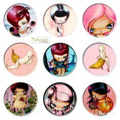 pinky toast   Link: Pinkytoast Original Big Eyed Art + Sweet and Sour Dolls on Etsy