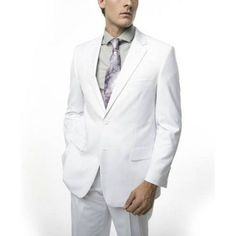 Verno Men's White Classic Fit Two Piece Suit, Size: 48R/42W