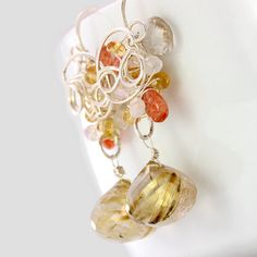 Golden Rutilated Quartz Earrings #jewlery