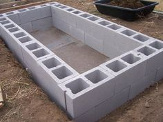 Cinder block worm bin for vermiculture/worm composting. Could work for raised bed garden.
