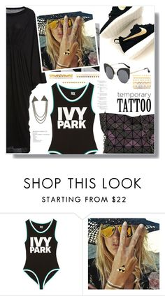 """""""Untitled #963"""" by wannanna ❤ liked on Polyvore featuring beauty, NIKE, Ivy Park, Flash Tattoos and temporarytattoo"""