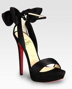 Black and Red Wedding - black wedding shoes; Christian Louboutin Satin and Suede Bow Platform Sandals