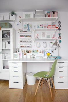Love how the whole wall has been used so all the different crafting items have their own home | Creative workspaces | BYGEL rail and BEKVÄM spice racks, painted white