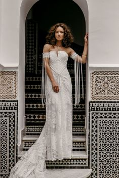 Picture Of boho lace wedding dress with a textural bodice, a train and lace arm band sleeves with long fringe Romantic Bohemian Wedding Dresses, Bohemian Bride, Dream Wedding Dresses, Wedding Gowns, Romantic Lace, Modern Bohemian, Lace Wedding, Wild Hearts, Dress Alterations