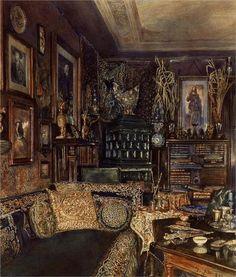 Rudolf von Alt, Office of Count Lanckoronski, Vienna, 1881