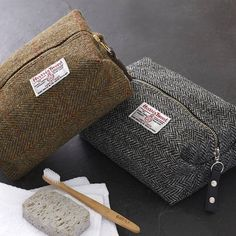 men's harris tweed toiletry bag by catherine aitken | notonthehighstreet.com                                                                                                                                                                                 Más