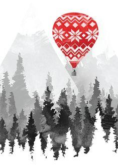 Grandma's Hot Air Balloon Greeting Card by Brent Schoepf (Threadless) | Open Me
