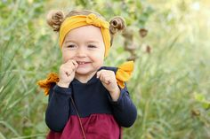 Mustard top knot headband for baby girl and toddler. Perfect fall headband