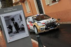 Sebastien Loeb of France and Daniel Elena of Monaco celebrate with their Citroen Abu Dhabi Total Citroen DS3 WRC at the final ramp in the Princess Palace during day five of the WRC Monte-Carlo rally on January 20 , 2013 in Montecarlo , Monaco.