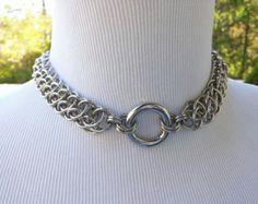 Punto O anillo Collar espigas y rosas BDSM Collar Collar por xoMINX